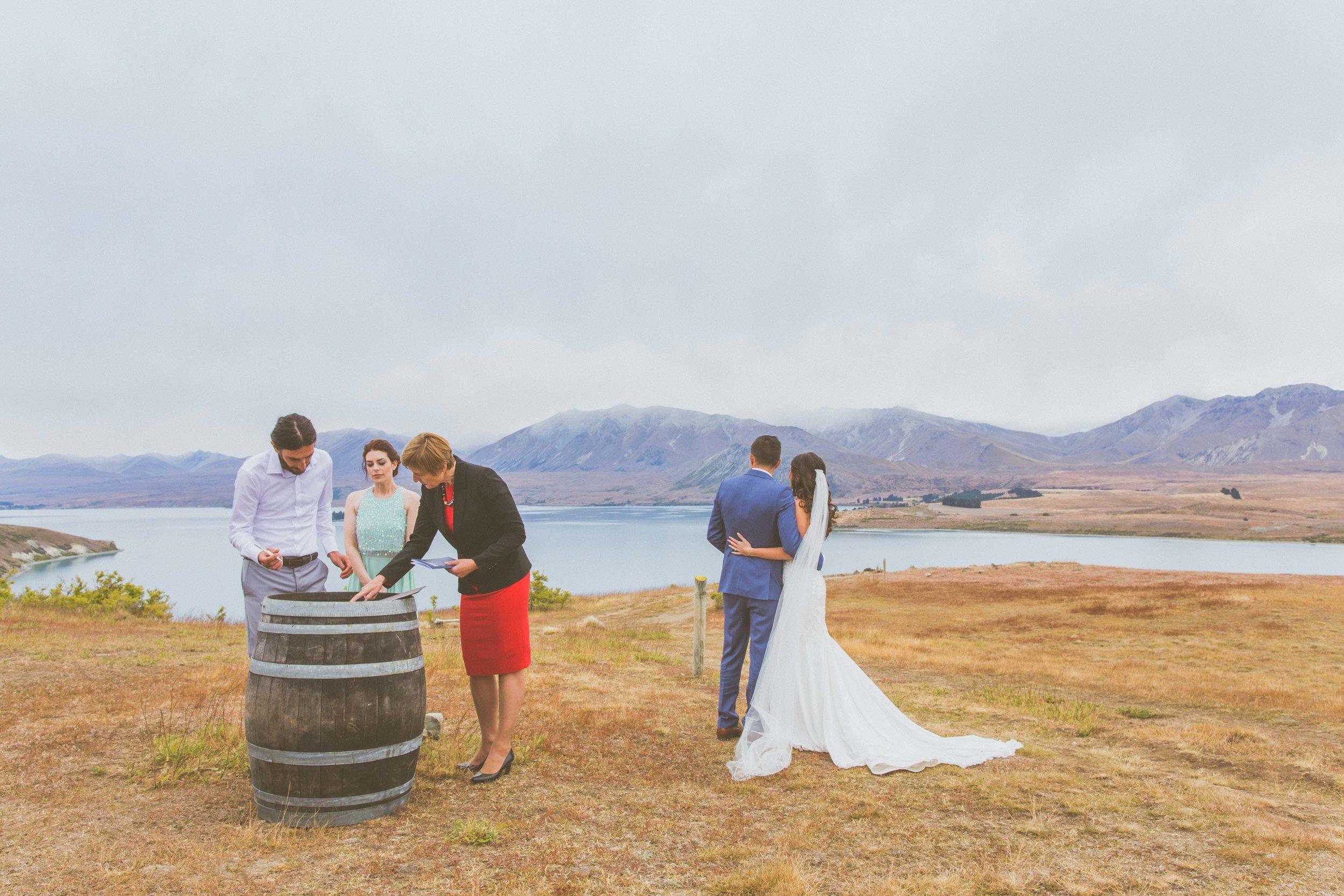 New Zealand wine barrel wedding