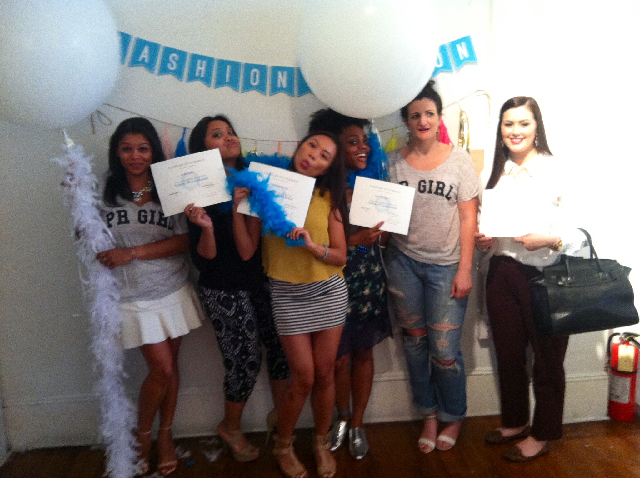 Some of our Fashion PR Con graduates being silly with Crosby!