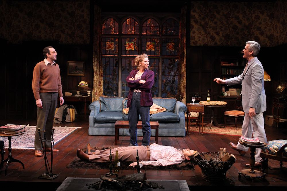 "David Mason, Jenni Putney, Richard Gallagher, and Mark Light-Orr in ""Living Together,"" part of Alan Ayckbourn's ""The Norman Conquests,"" at Northern Stage. (Photo by Rob Strong)"
