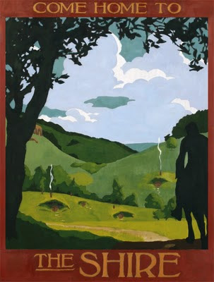 The Shire fantasy travel poster by Steve Thomas, available on request