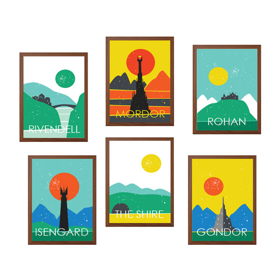 Retro middle earth posters from SealDesignStudio on Etsy