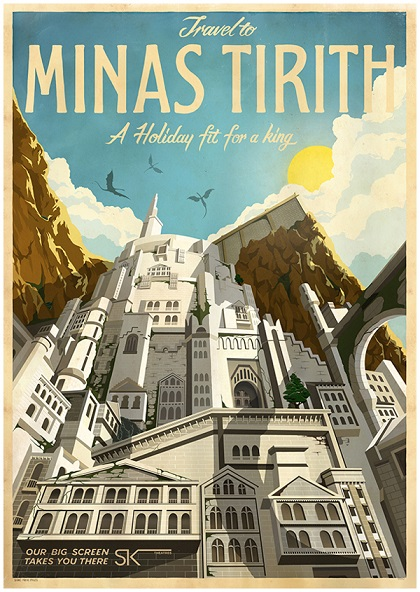 Minas Tirith travel poster, from a series of film posters created by MUTI for Ster-Kinekor cinemas in South Africa.