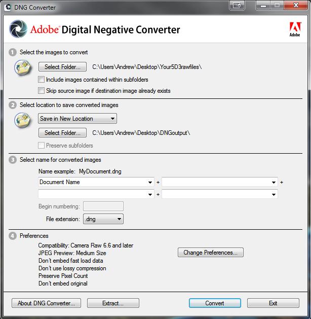 Screenshot:Use Adobe's DNG Converter to Convert 5D3 RAW Files