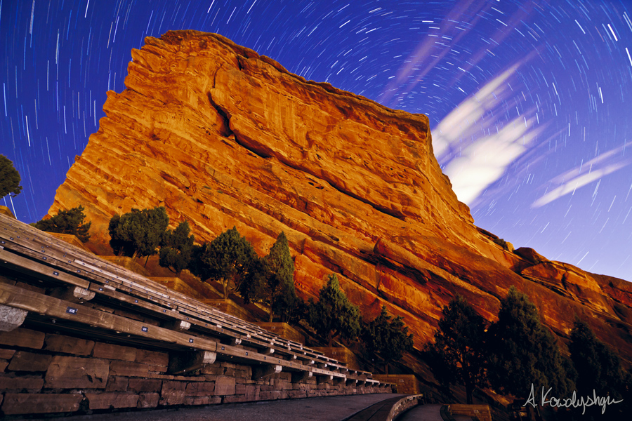 Creation Trails - Star Trails wrap around Creation Rock at Red Rocks Amphitheater in Morrison, CO (Andrew Kowalyshyn)