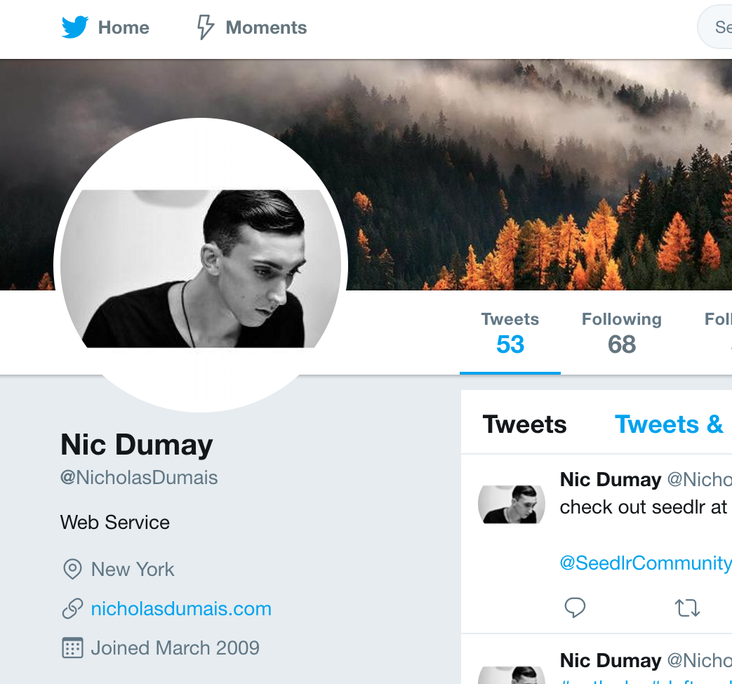 Nic Dumay's Twitter page features a photo of his former self; clean shaven, combed hair, and a website link that he used to market his graphic design skills. His website is no longer working.