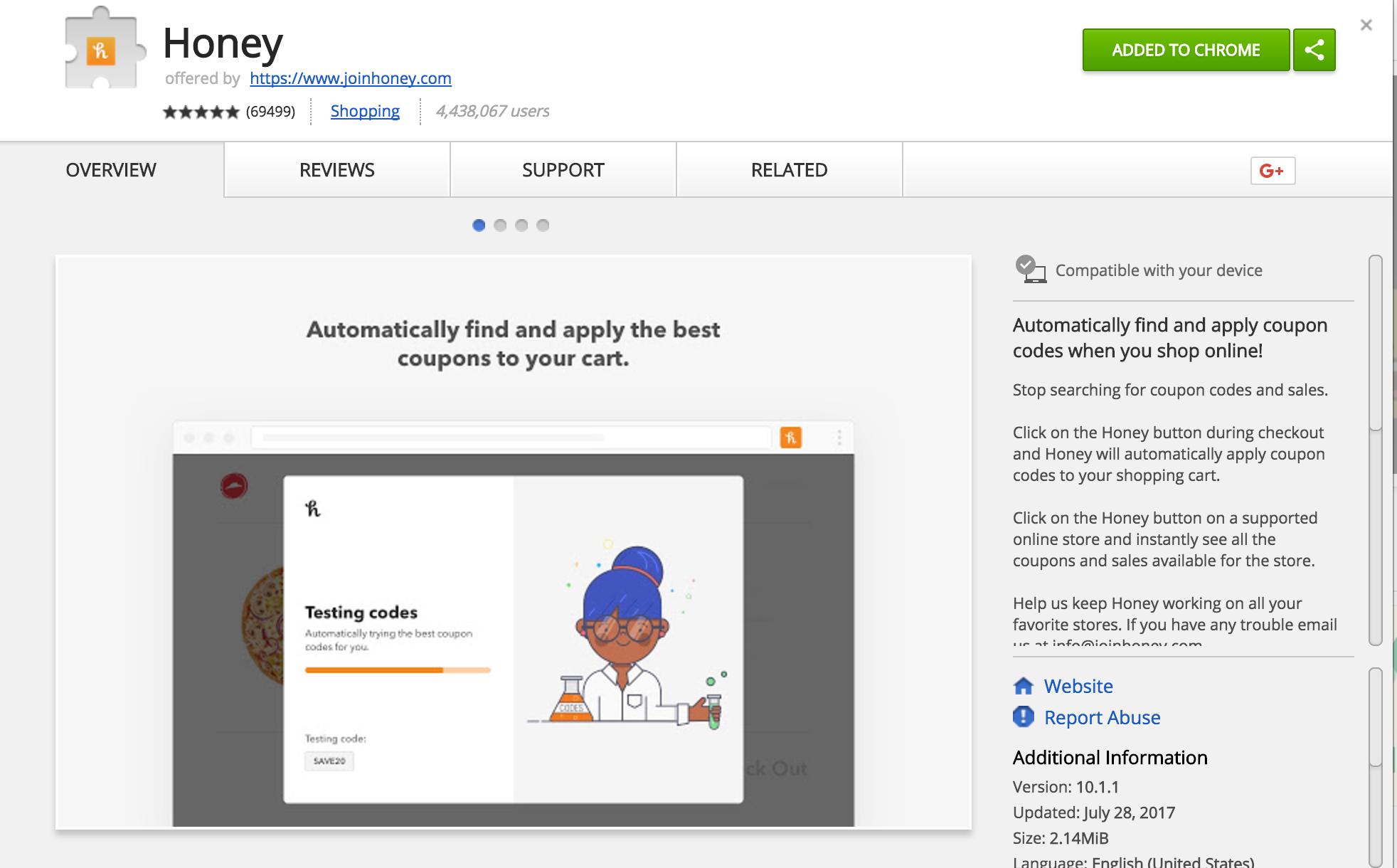 Honey app - Google Chrome Web Store