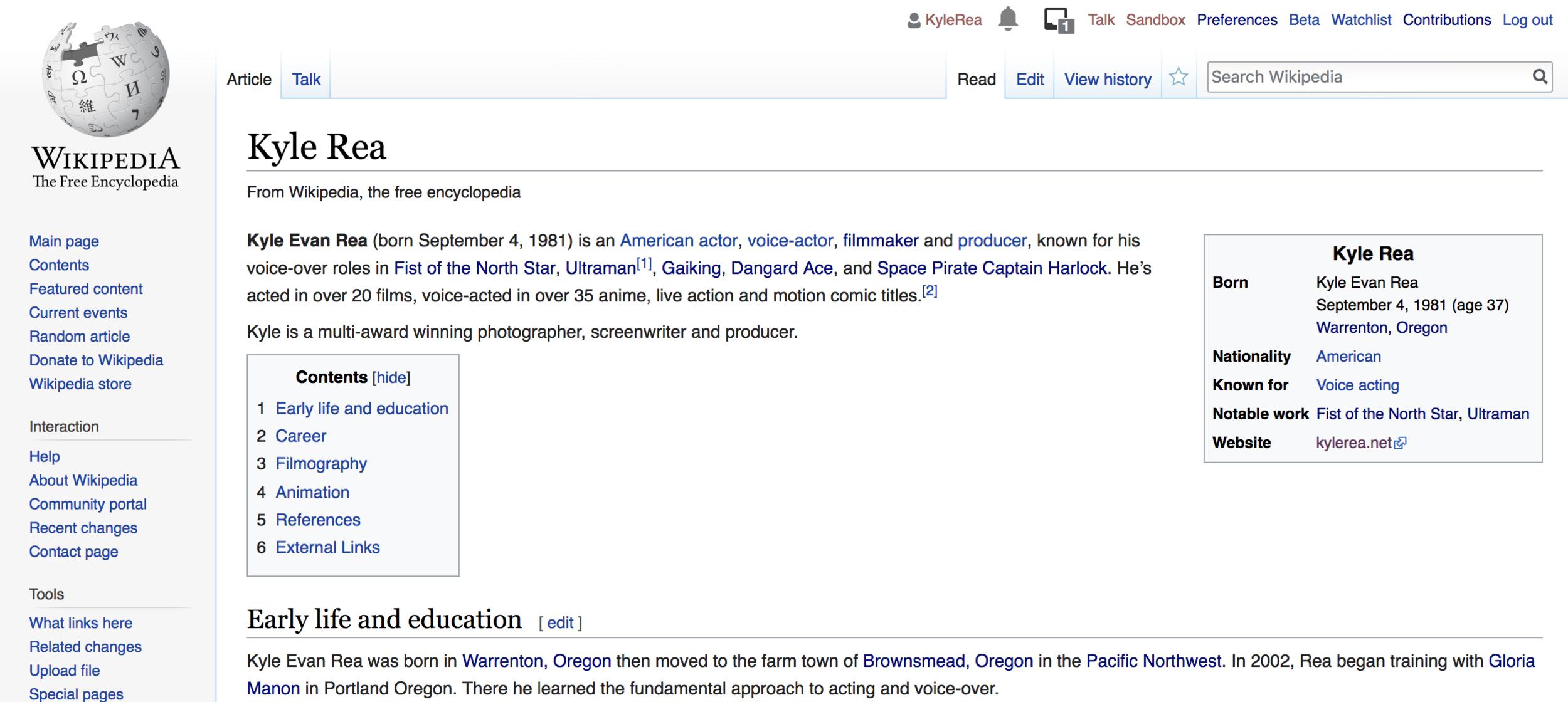Kyle Rea on Wikipedia