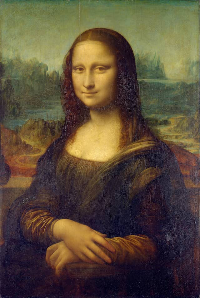 Mona Lisa - Leonardo da Vincic. 1503–06, perhaps continuing until c. 1517Oil on poplar panelSubject: Lisa Gherardini77 cm × 53 cm Musée du Louvre, Paris