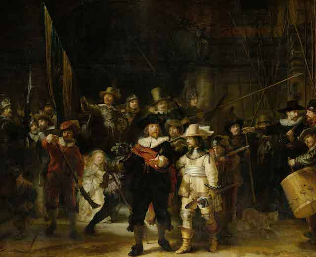The Night Watch - Rembrandt van Rijn1642Oil on canvas363 cm × 437 cm Rijksmuseum, Amsterdam
