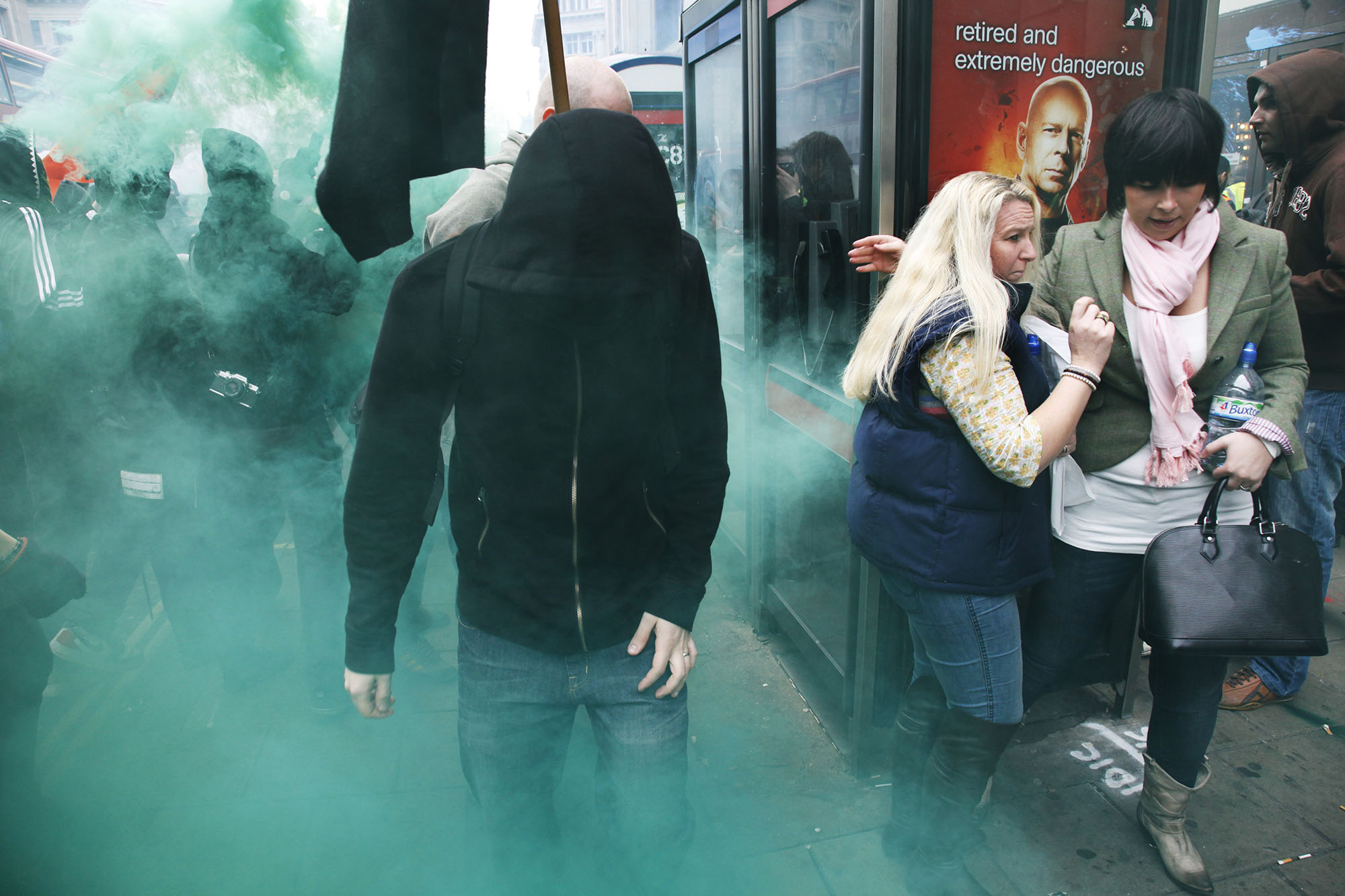 Anarchists go on the rampage through central London frightening shoppers on Oxford Street. Bruce makes sure they are all safe.