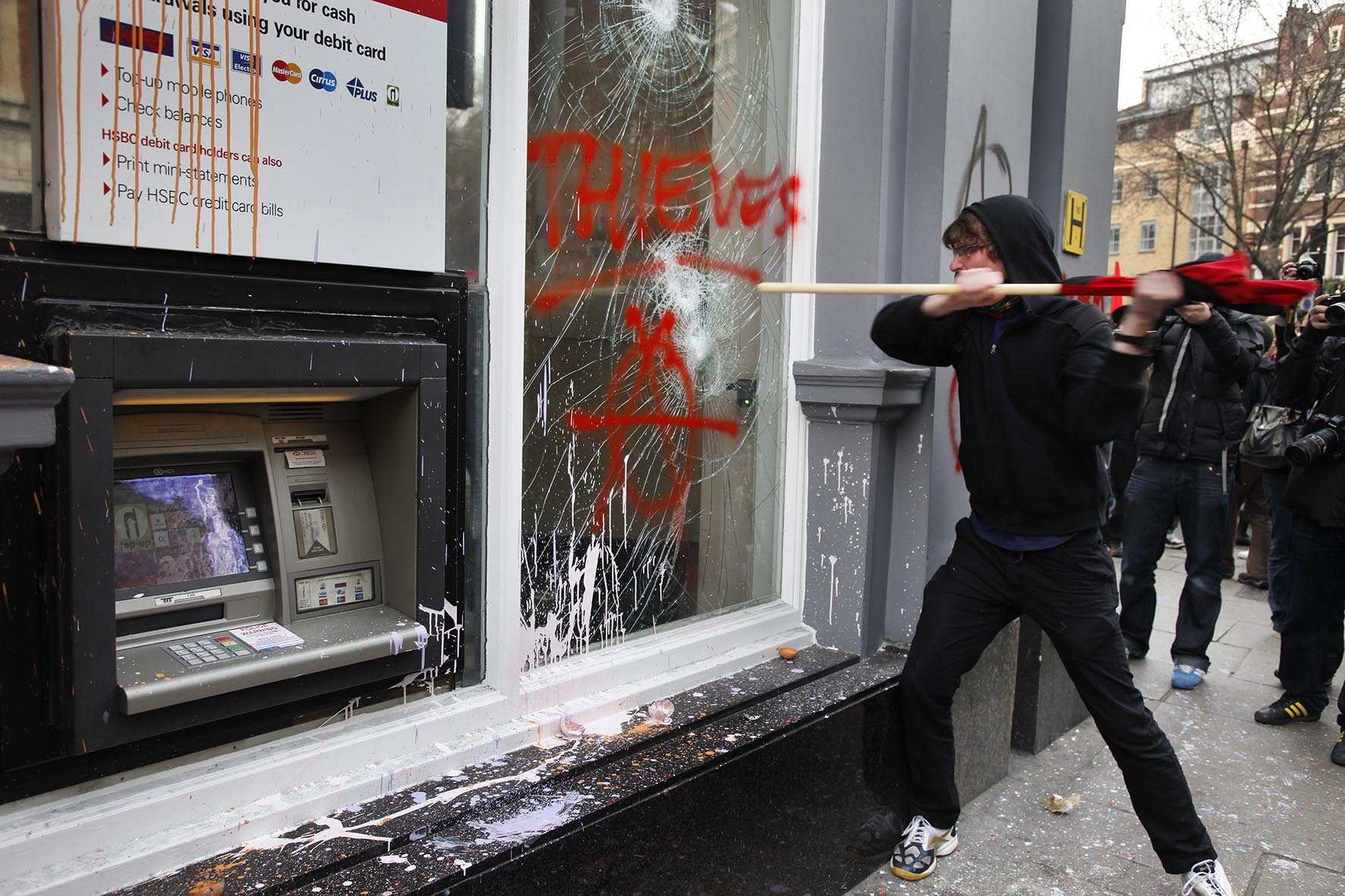 Anti capitalists / anarchists go on the rampage through central London on the back of the peaceful TUC protest march.