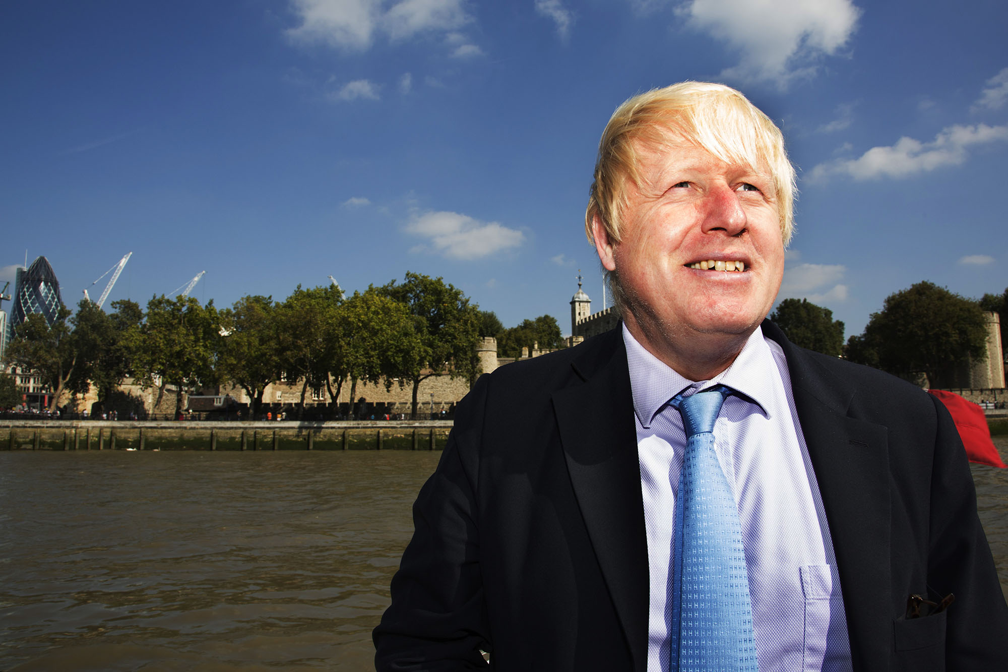 London Mayor Boris Johnson travelling down the River Thames.  For Totally Thames.