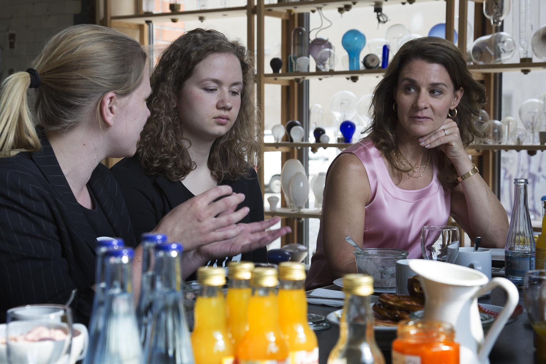 Melinda Gates speaks with ONE Youth Ambassadors at Olafur Eliasson's studio in Berlin.  For the Bill & Melinda Gates Foundation.