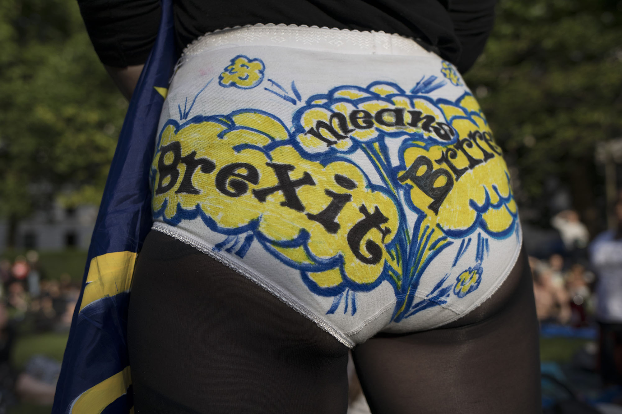 Brexit means Brexit pants at Theresa May's 'Leaving Drinks' protest in St James's Park.