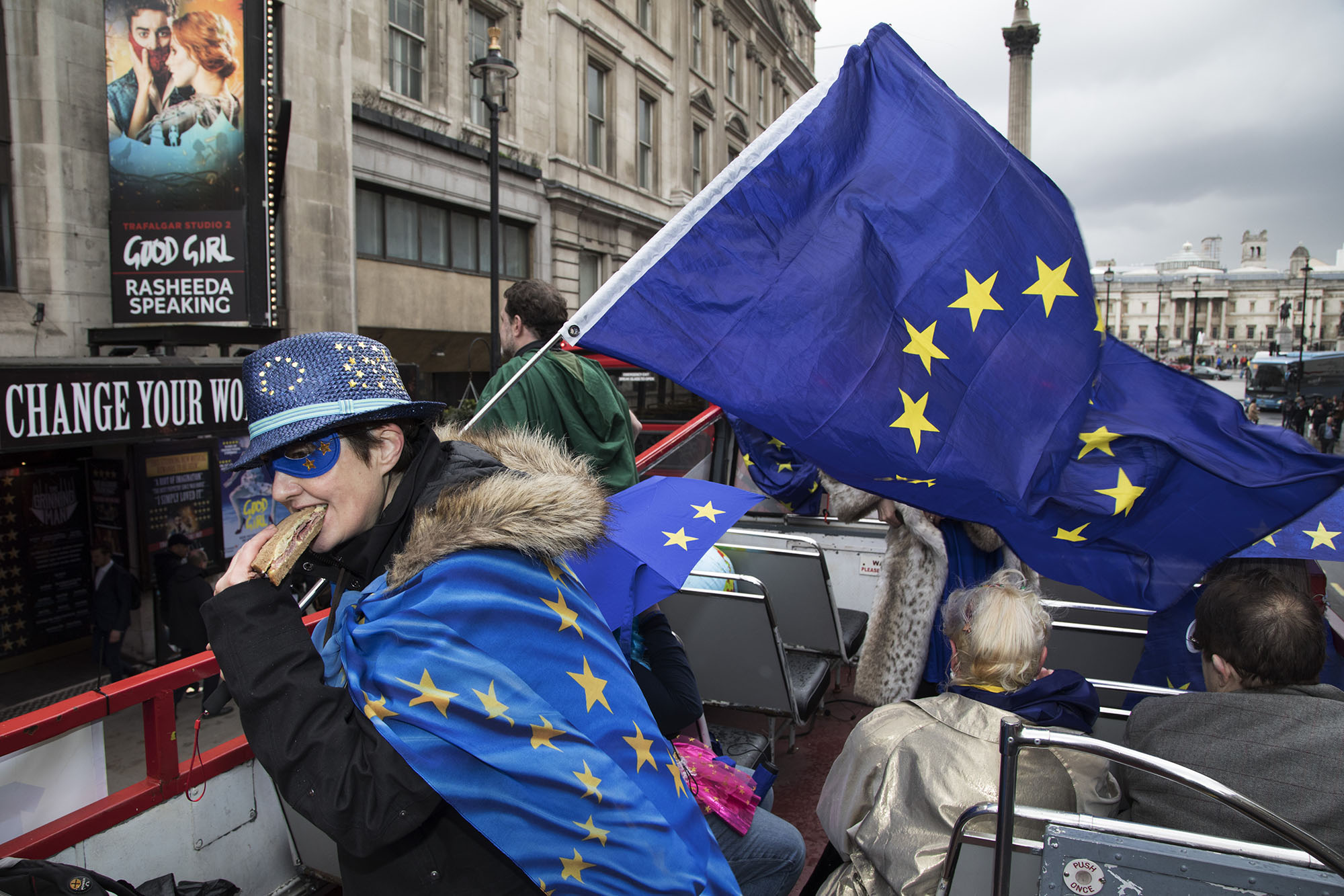 With one year to go until Brexit, anti-Brexit demonstrators protest aboard an EU superhero Brexit battle bus.