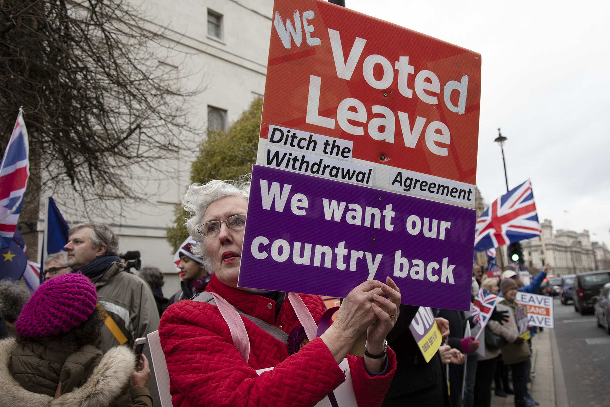 Vote Leave supporter on the day of the first 'meaningful vote' when MPs will back or reject the Prime Minister's Brexit Withdrawal Agreement on 15th January 2019.