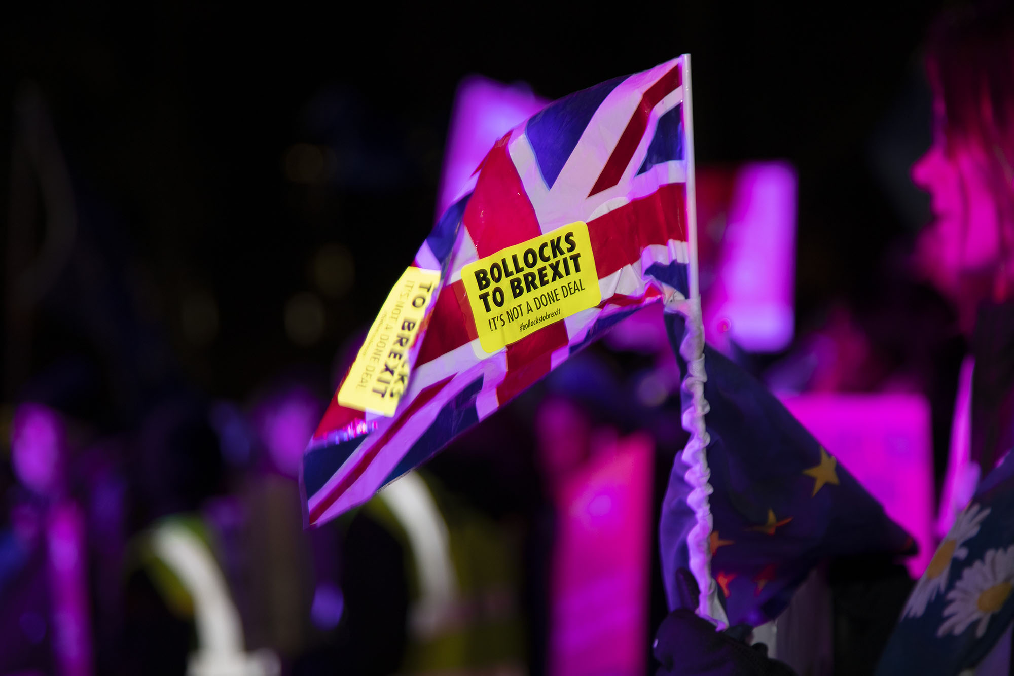 Bollocks to Brexit sticker as the results are awaited on the day of the first 'meaningful vote' when MPs will back or reject the Prime Minister's Brexit Withdrawal Agreement on 15th January 2019.