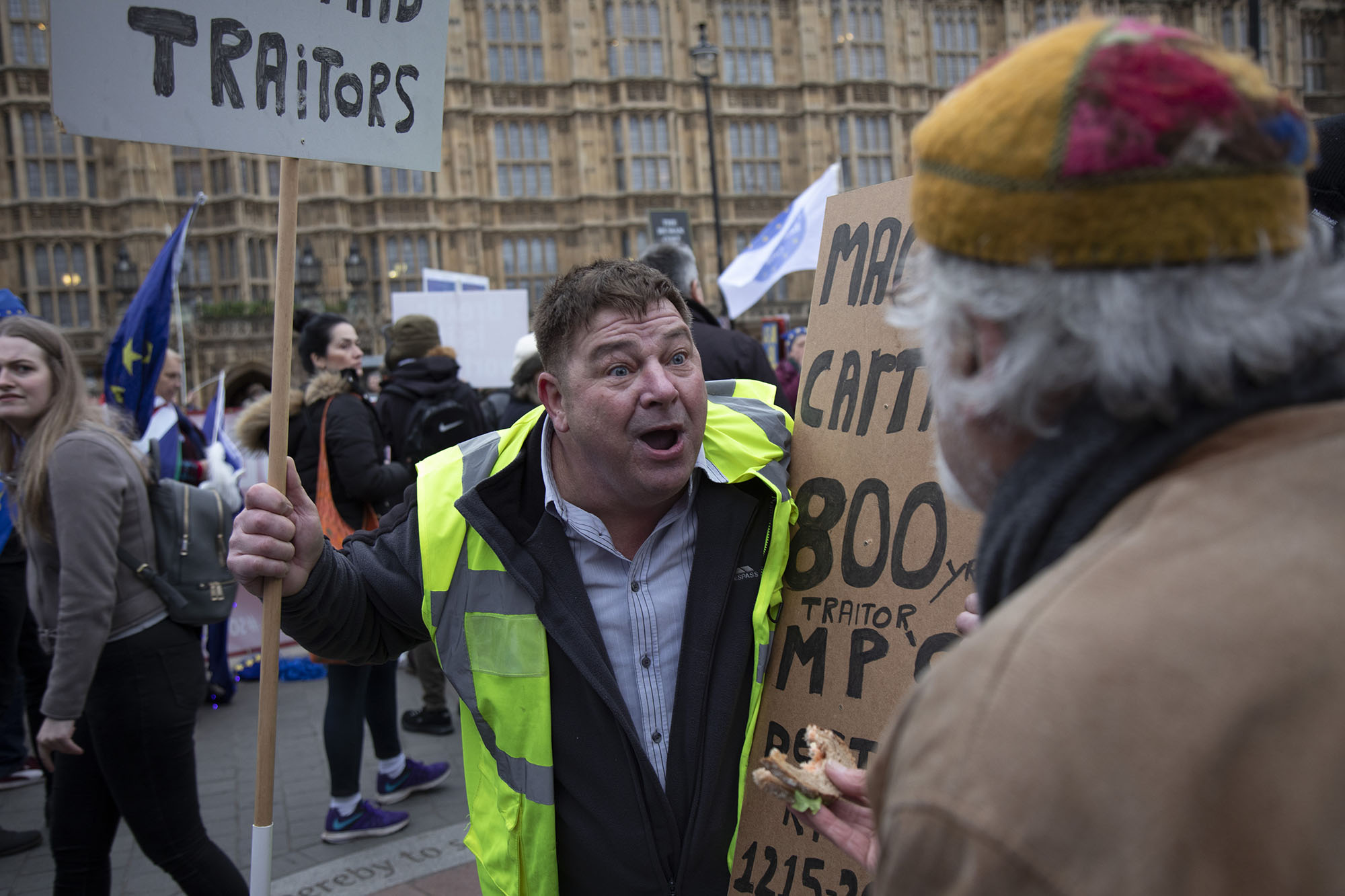 Yellow Jacket protester screams at an anti-Brexit protester on the day of the first 'meaningful vote' when MPs will back or reject the Prime Minister's Brexit Withdrawal Agreement on 15th January 2019.
