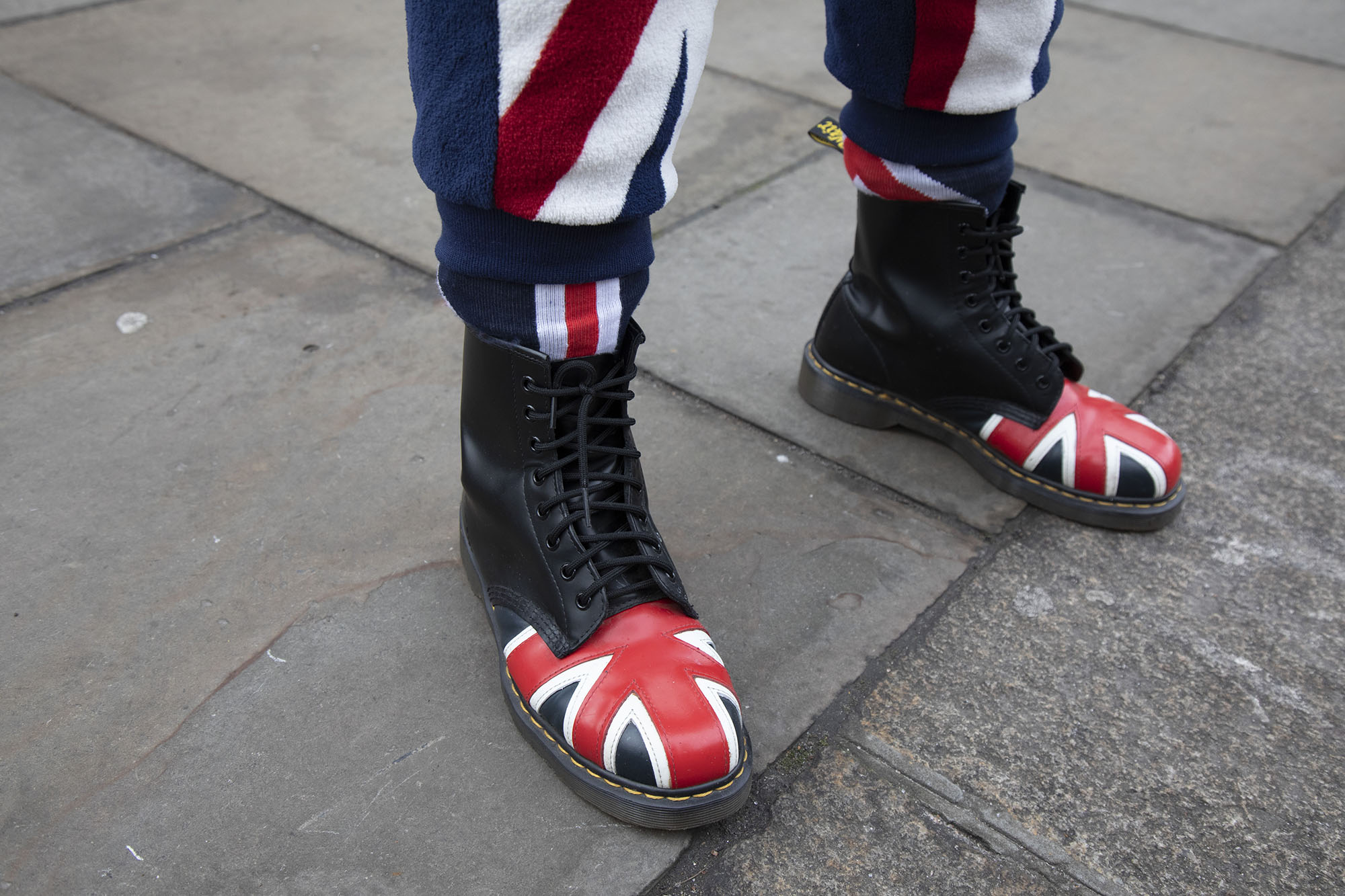 Patriotic Dr Martens of a Leave supporter on the day MPs vote on EU withdrawal deal amendments on 29th January 2019.