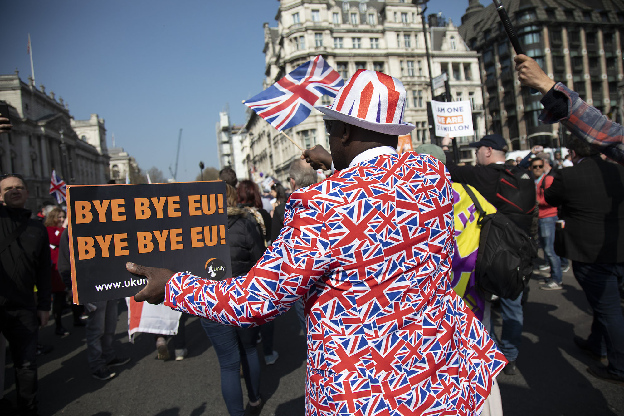 Thousands of Leave supporters gathered in Parliament Square to protest against the delay to Brexit, on the day the UK had been due to leave the EU on 29th March 2019.