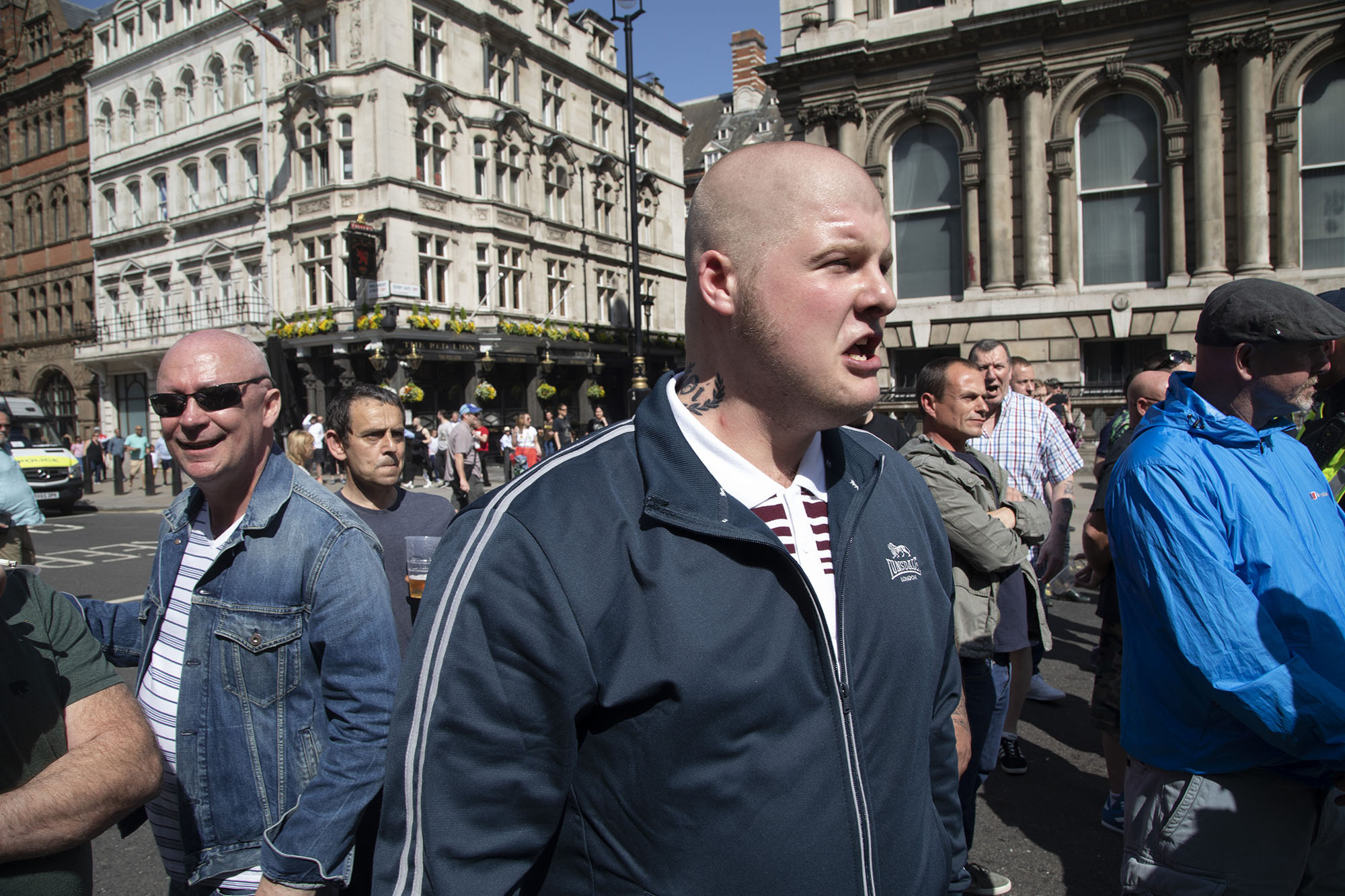 Democratic Football Lads Alliance 'day of freedom' on Whitehall with nationalistic sentiments being screamed at anti fascists.