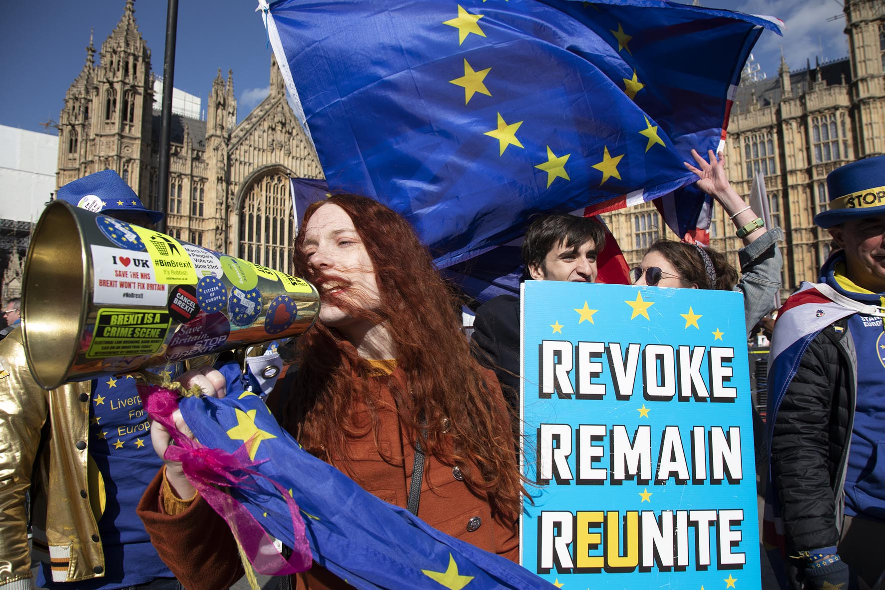 Young anti Brexit protester Florine Pochet from Lille in France shouts anti-Brexit slogans as the Prime Minister arrives in Brussels to request an extension to Article 50 on 10th April 2019.