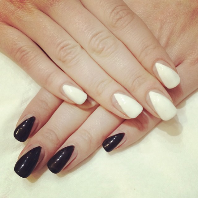 Monochrome negative space gel manicure