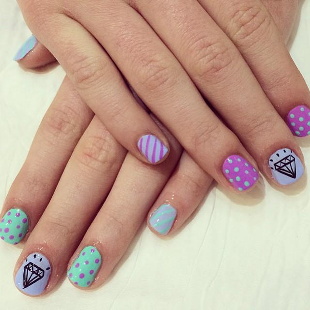 Pastel diamond polka dot gel nails