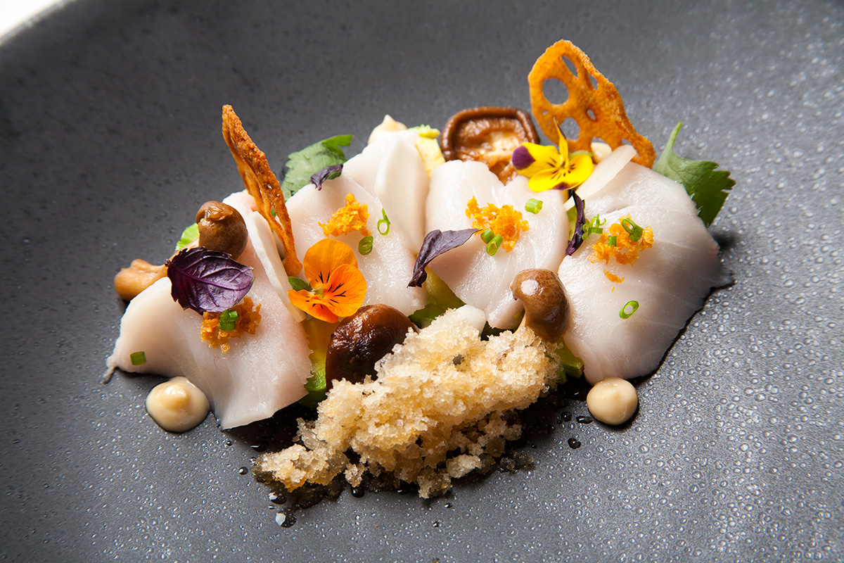 Escolar with Pickled Mushrooms and Dashi Snow