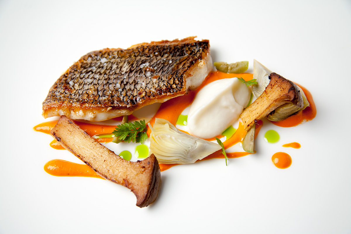 Black Bass with Romesco and Artichokes