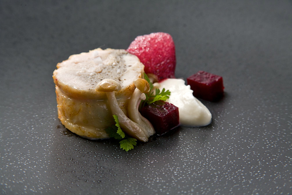 Chicken Roulade with Beets and Foam