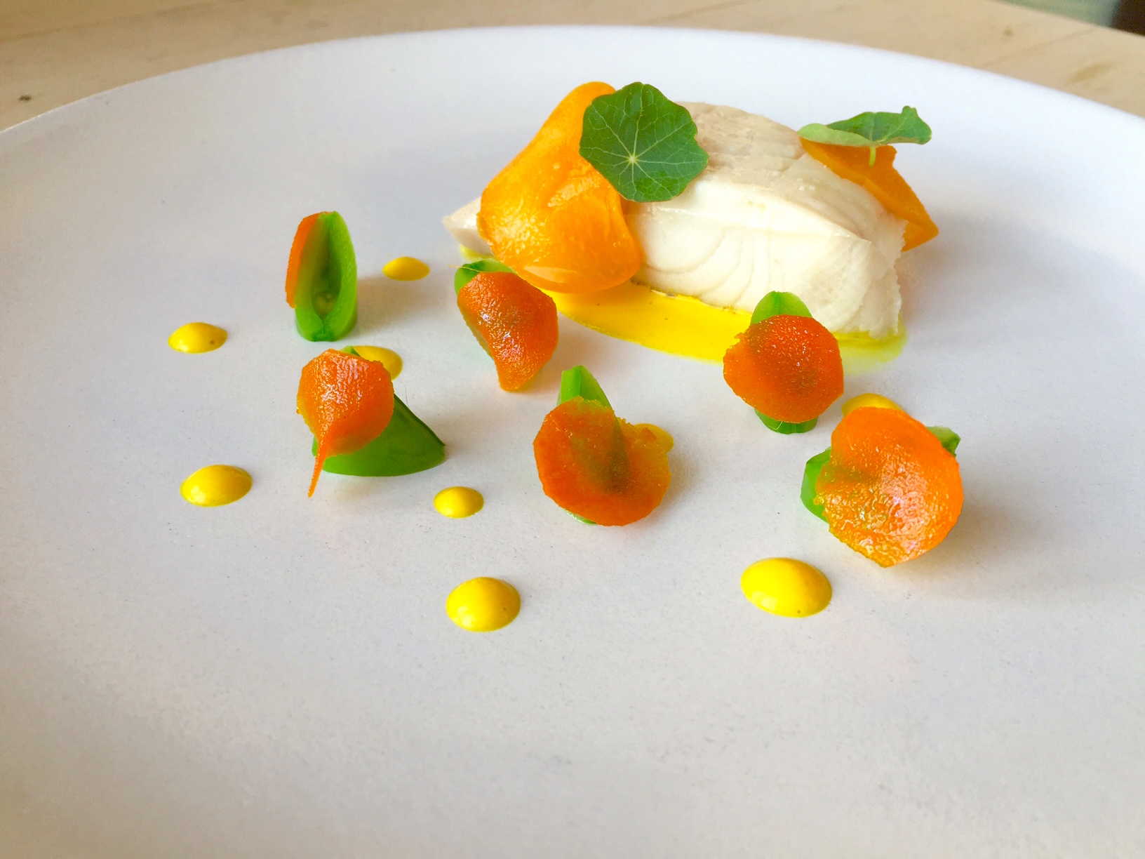 Cod, Candied Turmeric, Pickled Nectarine
