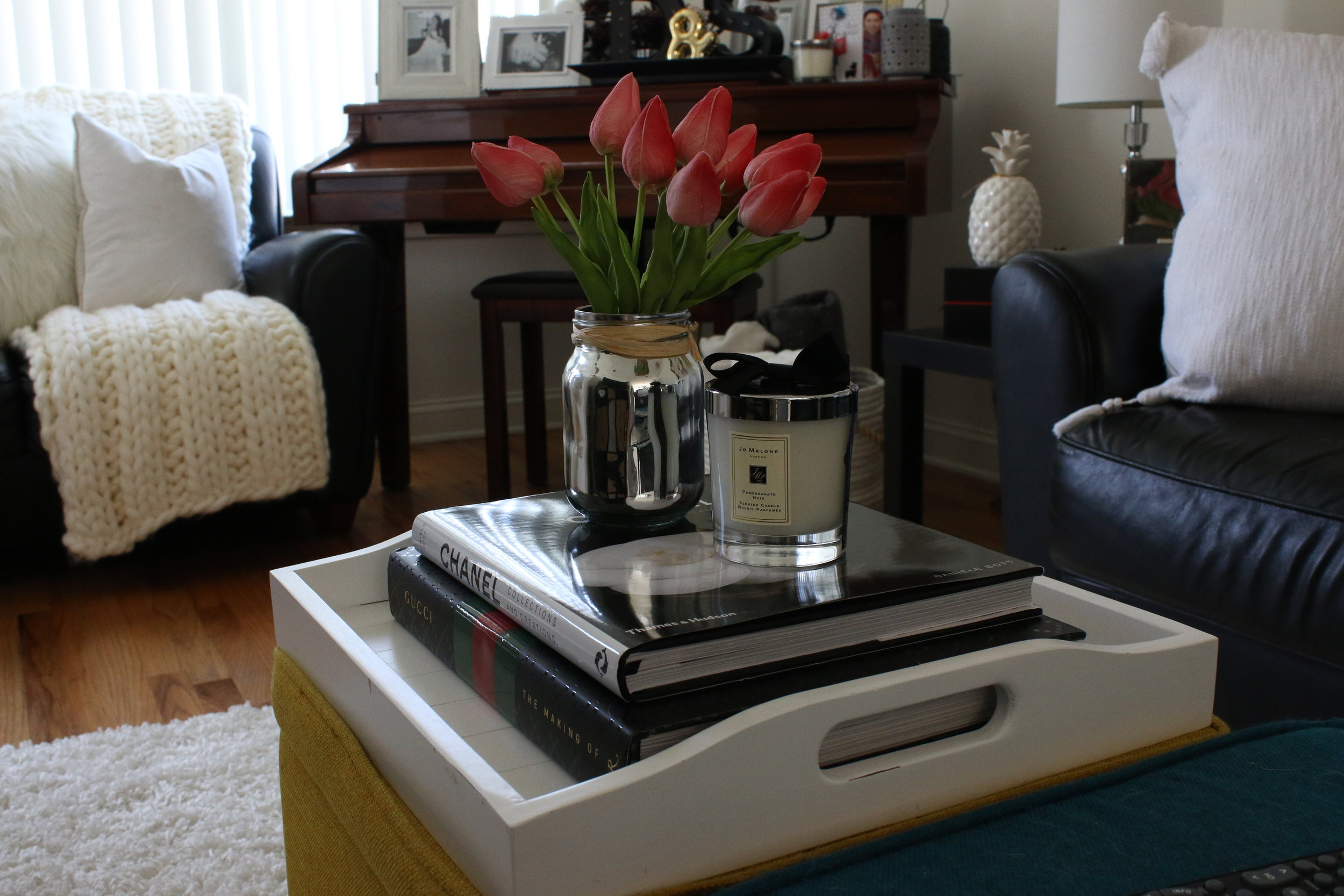 The tray and the vase of tulips,I got them from HomeGoods. The fashion hardcover books from Amazon.