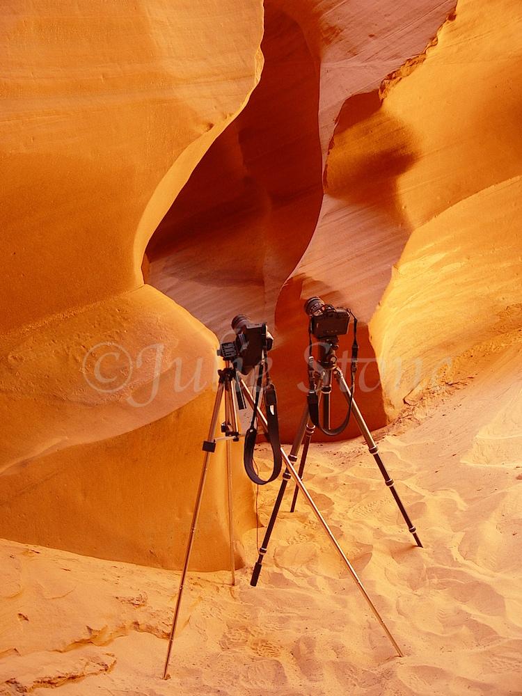 Camera's at Slot Canyon Entrance 2002