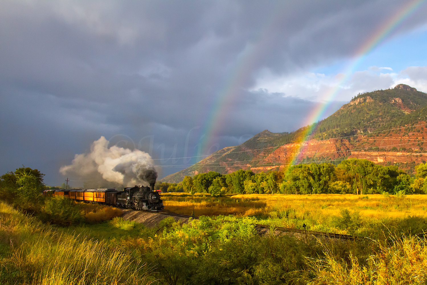 Durango Narrow Gauge Train Double Rainbow, Image #6040