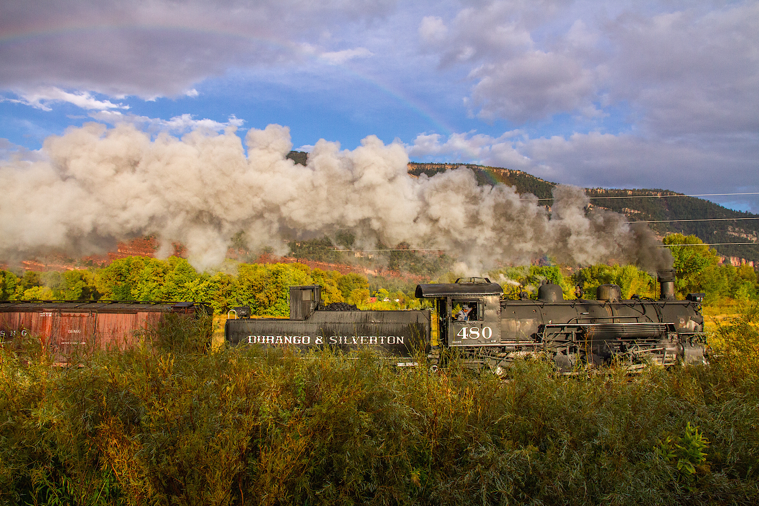 Durango Narrow Gauge Train with rainbow, Image #6066