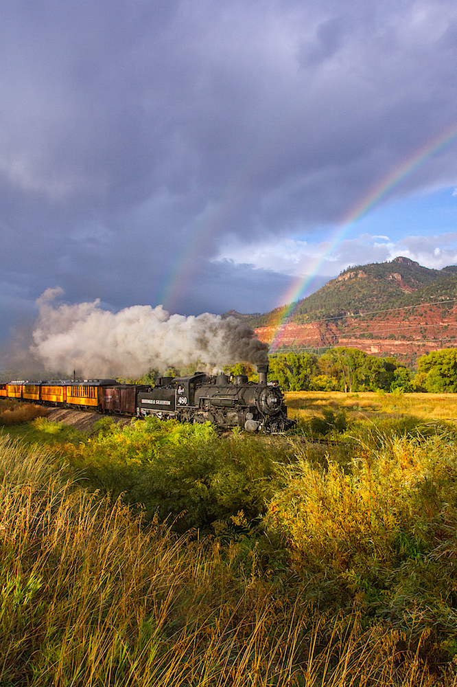 Durango Narrow Gauge Train with Rainbow, Image #6052