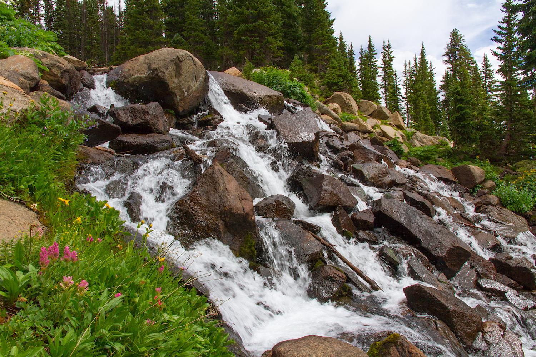 Trail Crosses Waterfall below King Lake, Image # 0005