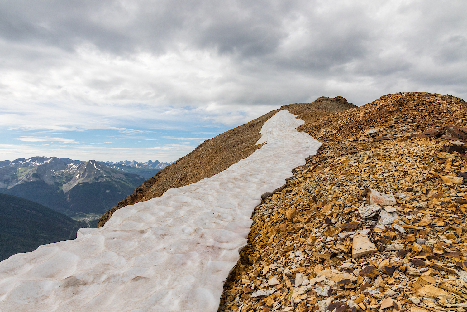Snow remaining on ridge