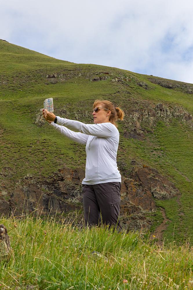 Gina taking a Panorama