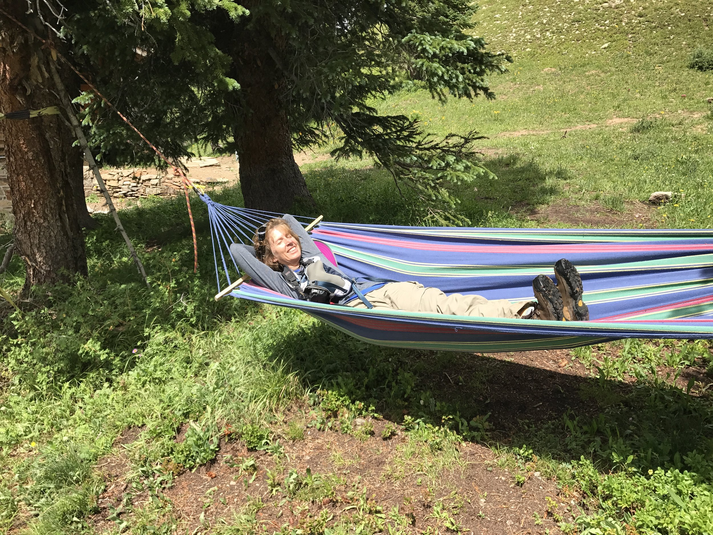 """Me enjoying the Hammock at Opus Hut. """" I'm tired after all the route finding today"""" ©Angela Bouchard"""