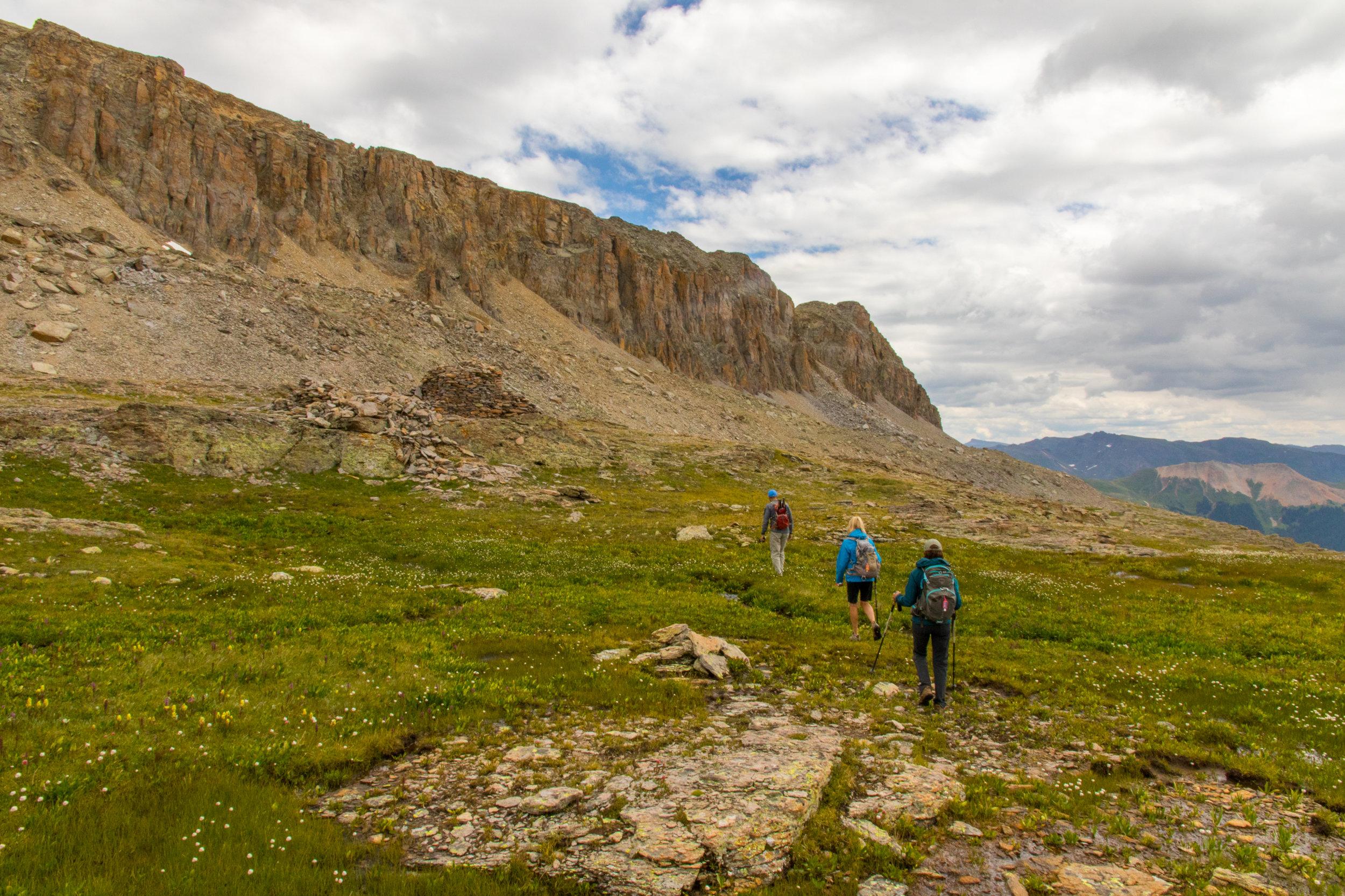 Tim, Angela & Mary hiking down from Columbine Lake