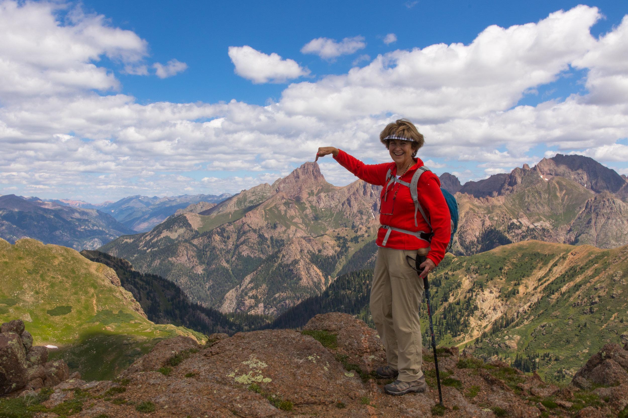 Glenda Touches Pidgeon Peak