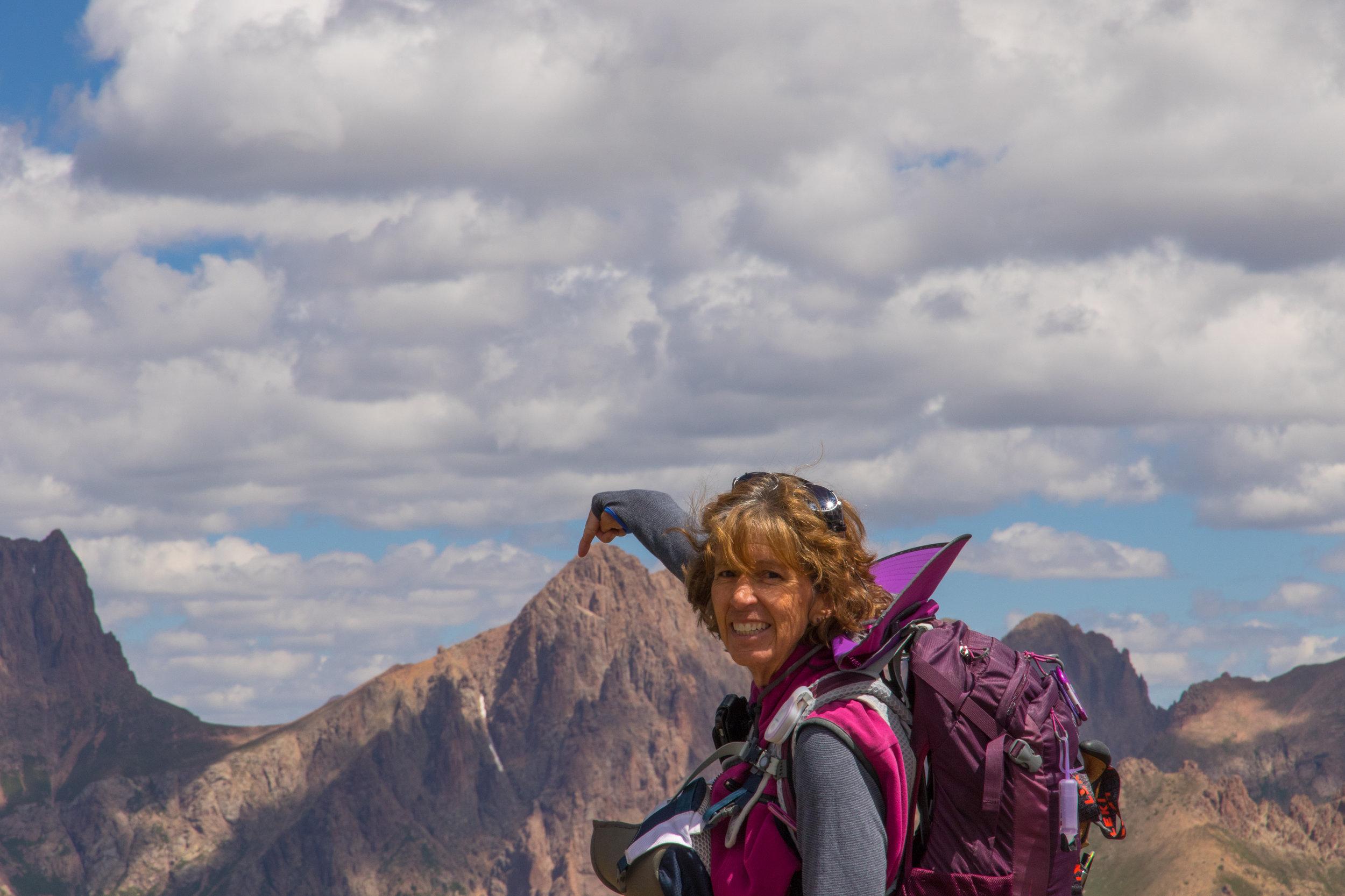 Julie Touches Pidgeon Peak (photo by Glenda Ehrig)
