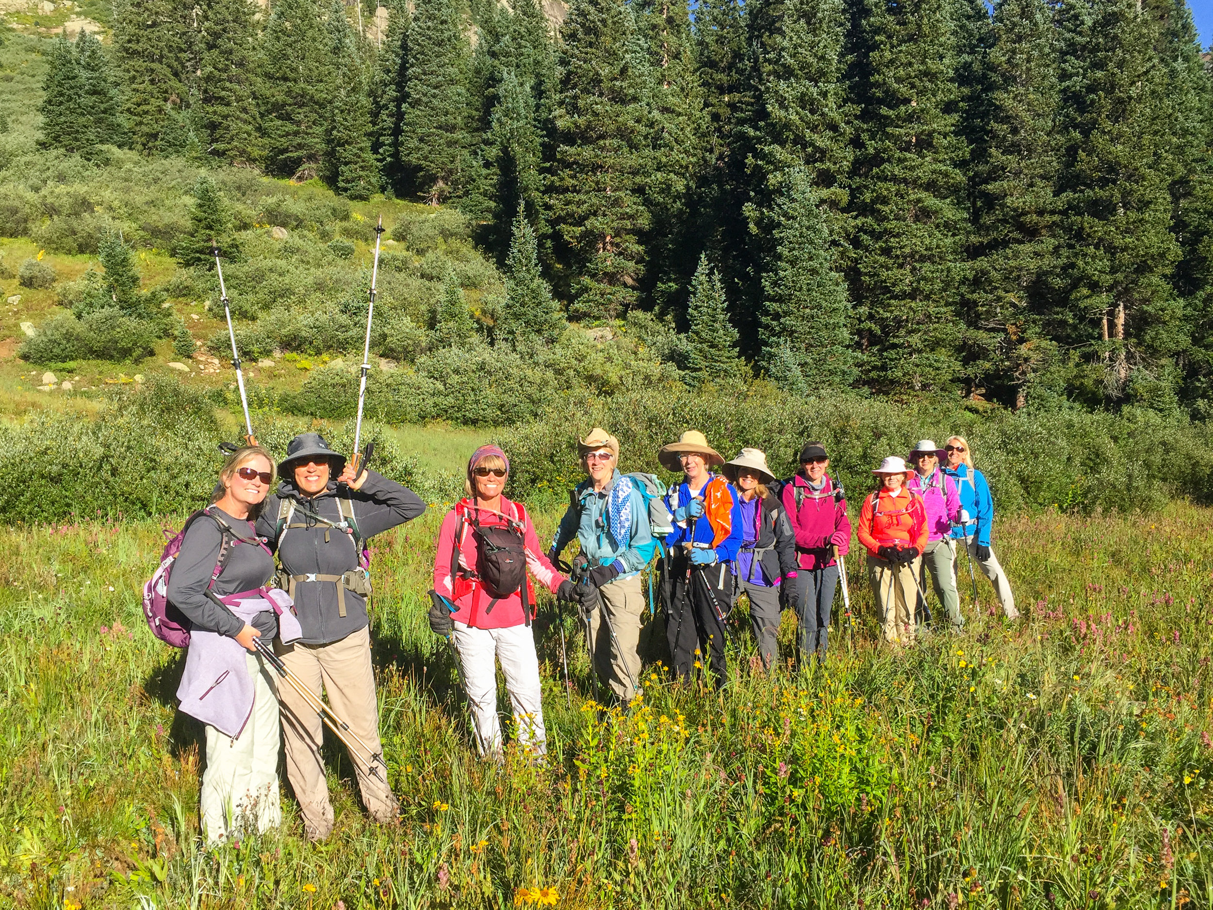 Moxie Hiking group on Rico-Silverton trail