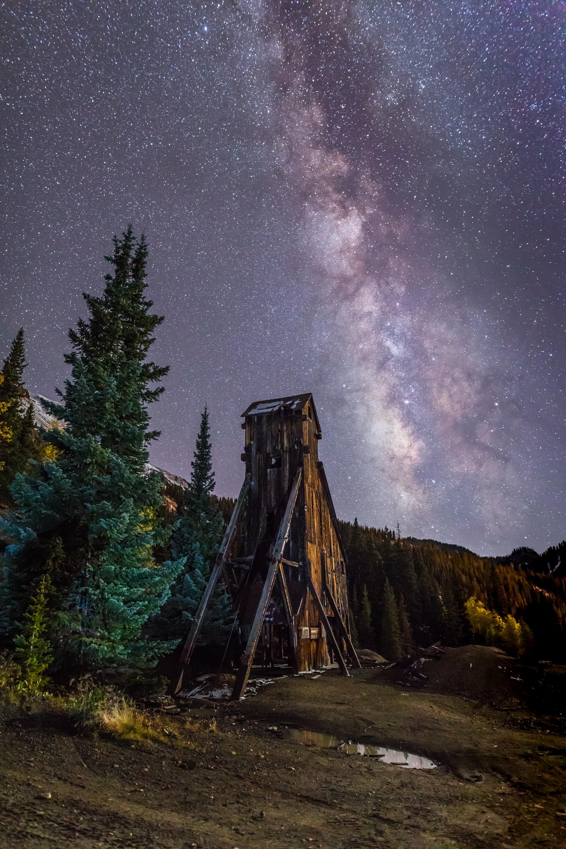 Milky way over Yankee Girl Mine, Image # 5453