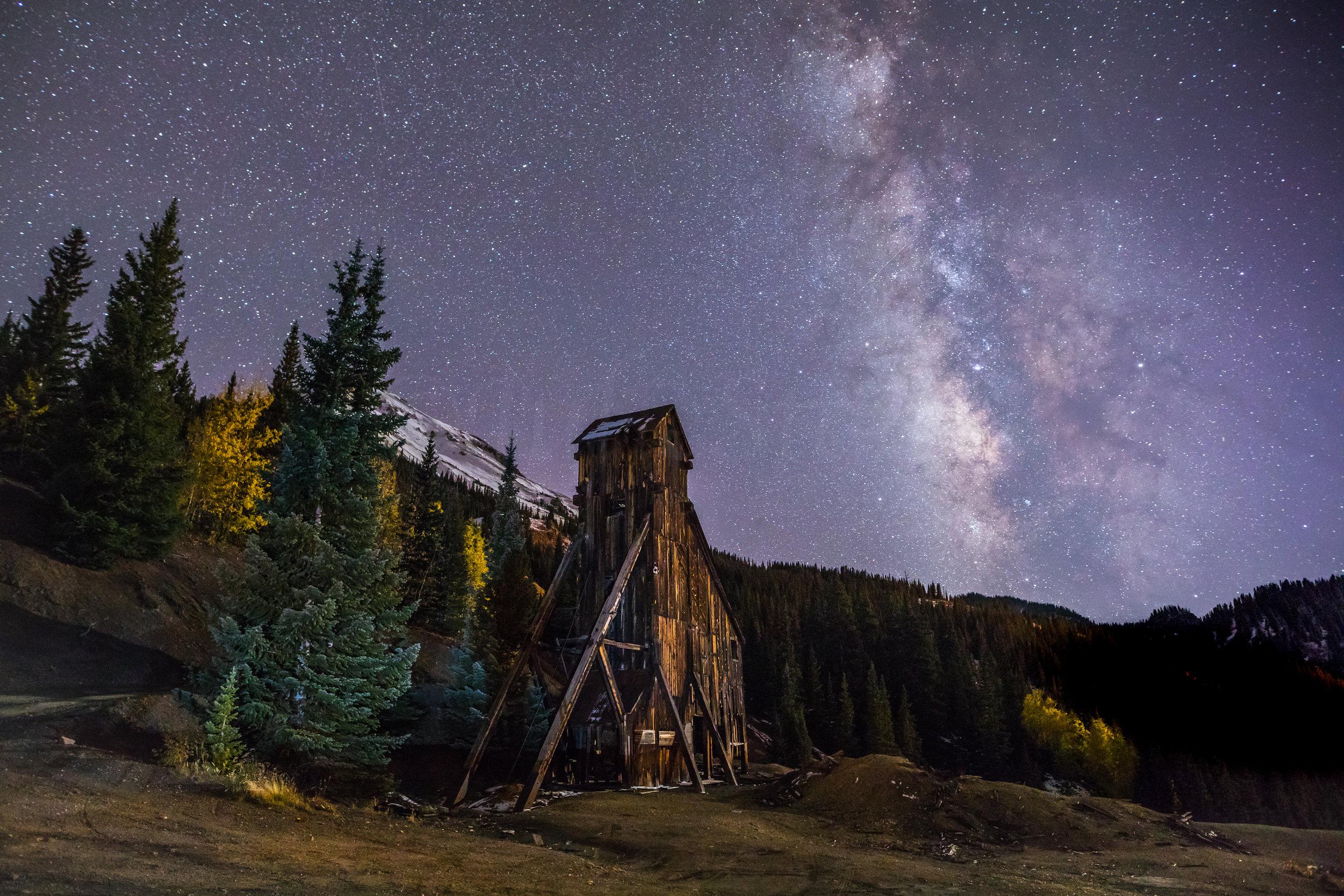 Milky way over Yankee Girl Mine, Image # 5458