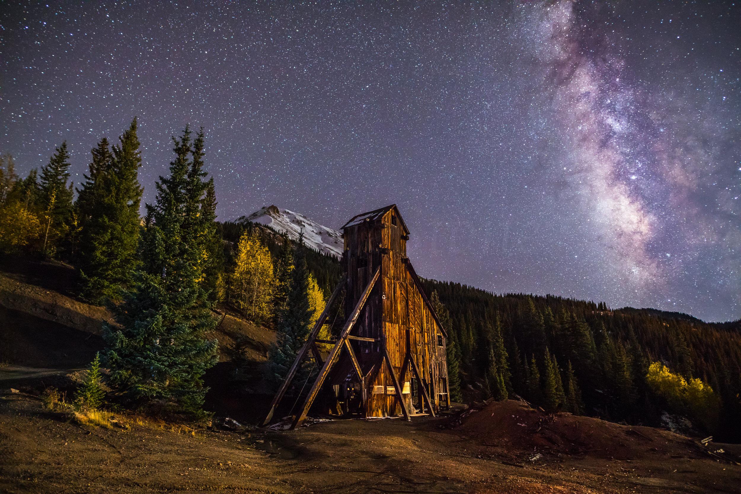 Milky way over Yankee Girl Mine, Image # 5463