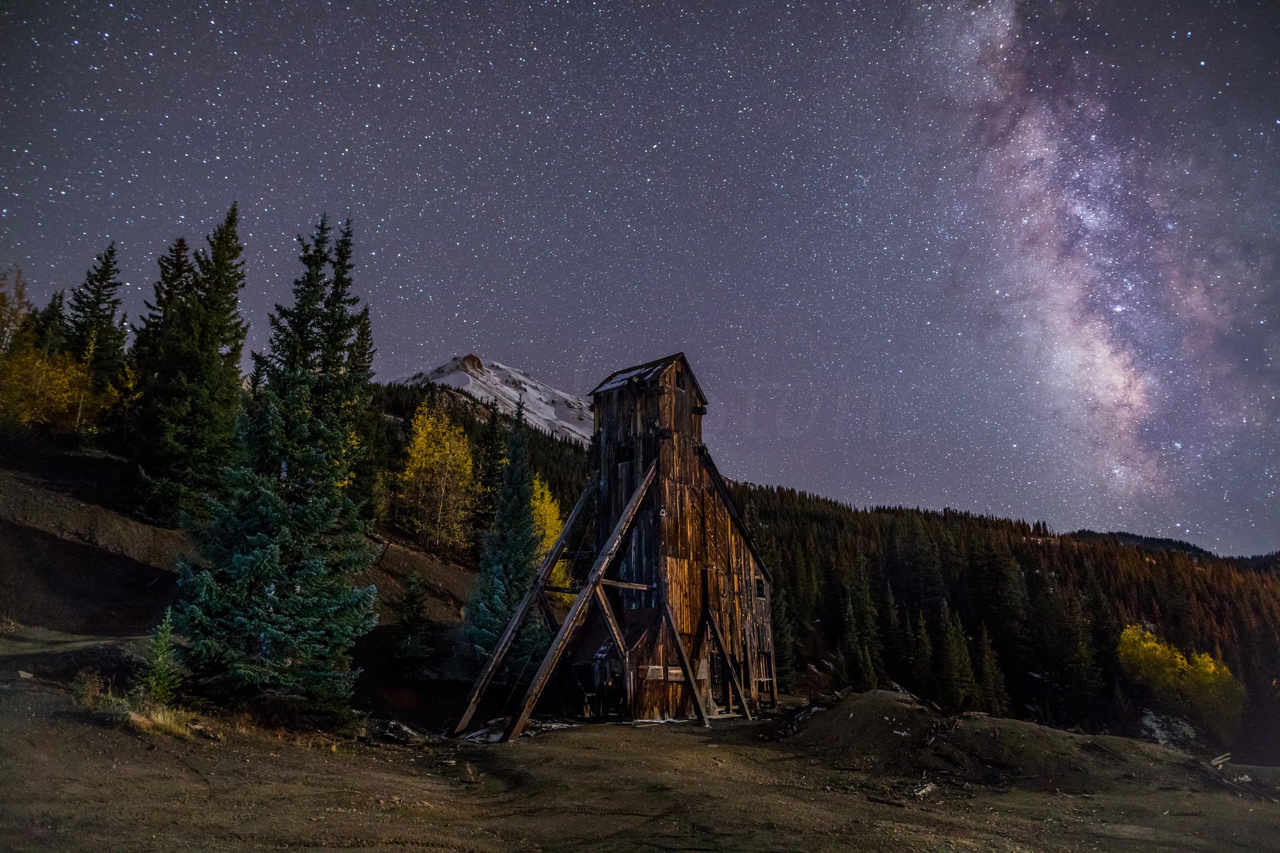 Milky way over Yankee Girl Mine, Image # 5471