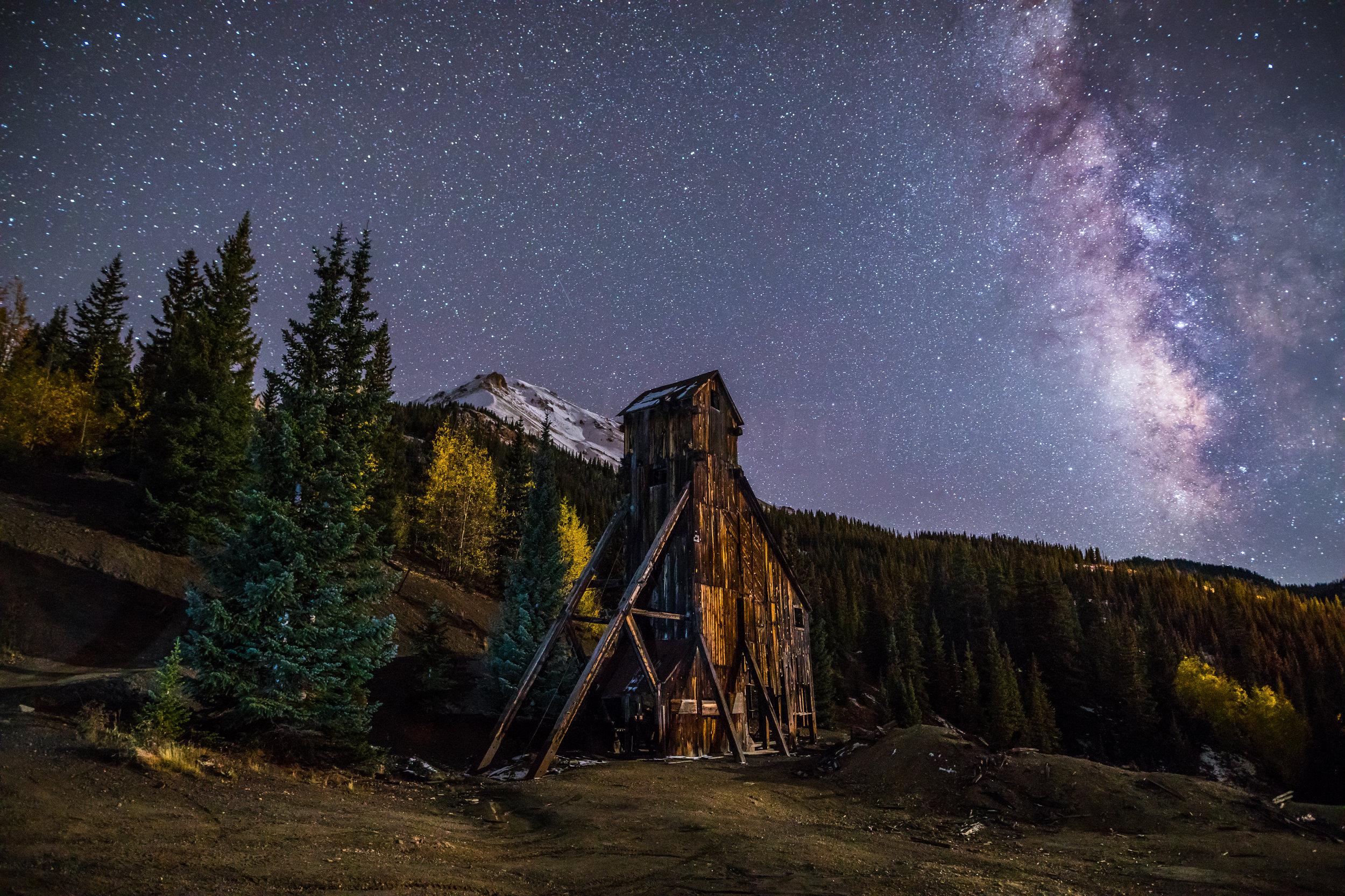 Milky way over Yankee Girl Mine, Image # 5473